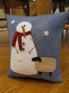 Snowman and Sheep Friend Christmas Winter Pillow by Justplainfolk
