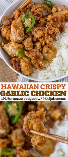 Crispy Hawaiian Garlic Chicken made with a crispy light coating and soy garlic sauce made a bit spicier with fried jalapeño rings. This is a spicy version of your favorite island takeout! #dessertfoodrecipes