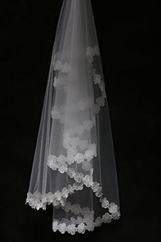 Wedtrend Women's Long Tulle Bridal Veil with Appliqued Flower Hem
