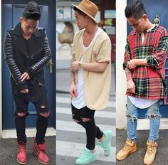 .ripped knee jeans. Long fit shirts or jackets... 2015 swag Streetstyle