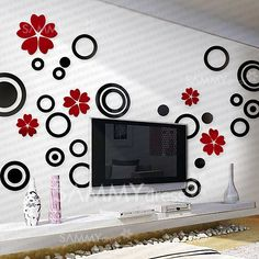 $1.58 5PCS 3D Stylish Love Heart Shaped Petals Removeral Wall Sticker Home Decor Vinyl Decal (Middle Size)