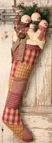 New Country Primitive Folk Art Christmas SNOWMAN STOCKING Homespun Patchwork