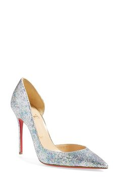 Christian Louboutin 'Iriza' Half d'Orsay Glitter Pump available at #Nordstrom