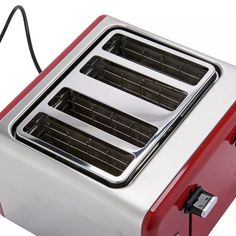 Buy Cookworks 4 Slice Toaster - Red   Toasters   Argos Black Toaster, Toasters, Cord Storage, Crumpets, Red Design, Brushed Stainless Steel, Argos, Clean Up, Keep It Cleaner