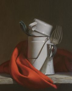 Travis Seymour, Composition in Red & White, oil on linen mounted on panel, 16 x 14 inches