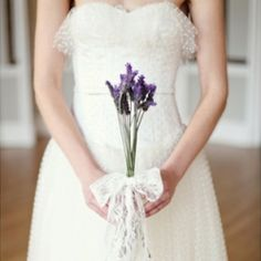 A polka dot tulle wedding dress, lavender, lace and romantic hair & make up ~ welcome to the bridal boudoir!