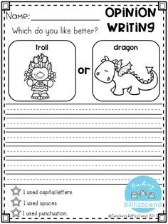 Writing Prompt: Opinion Writing for first grade. This is also great for kindergarten and second grade to build confidence in writing. Opinion Writing Prompts, Kindergarten Writing Prompts, 2nd Grade Writing, Work On Writing, Writing Notebook, Persuasive Writing, Writing Lessons, Teaching Writing, Writing Skills