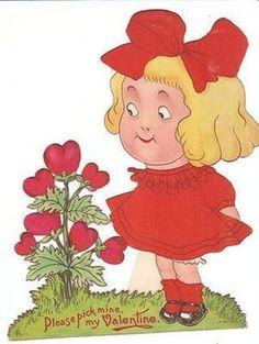 Vintage Valentine - little girl and heart shaped flowers - Grace Drayton