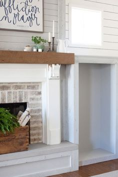 Stikwood Reclaimed Wood Fireplace and Built-Ins Reclaimed Wood Fireplace, Farmhouse Fireplace Mantels, Craftsman Fireplace, Fireplace Redo, Fireplace Built Ins, Shiplap Fireplace, Wood Mantels, Fireplace Hearth, Fireplace Remodel