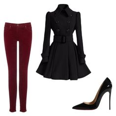 """""""Black and red outfit"""" by courtneydodson on Polyvore featuring AG Adriano Goldschmied and Christian Louboutin"""