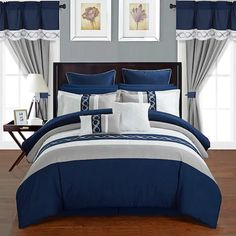 Chic Home Idit Bedding Set Blue Queen Blue Bedroom Ideas For Couples, Couple Bedroom, Navy Blue Bedrooms, Navy Blue Bedding, Blue Comforter Sets, King Comforter, Luxury Bedding Sets, Decoration, Bedroom Decor