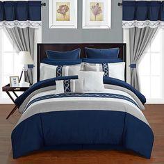 Chic Home Idit Bedding Set Blue Queen Blue Bedroom Ideas For Couples, Couple Bedroom, Navy Blue Bedrooms, Navy Blue Bedding, Luxury Bedding Sets, Bed Sets, Suites, Comforter Sets, King Comforter