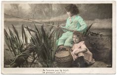 1908 Edwardian Tinted Photo Postcard - 2 Children Fishing (DB)
