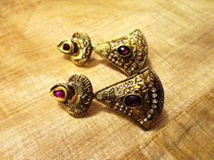 Majestic purple stone Gold Tone ethnic earrings