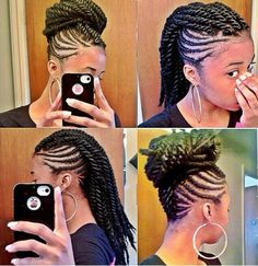 Braided Mohawk with Twisted Ends Put into a Donut Bun.