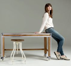 Caddy Desk in natural mango wood and metal £299 | made.com