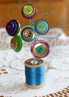 Vintage Button Spool Bouquet- Jewel Tones