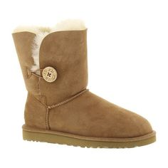UGG® Bailey Button ($165) ❤ liked on Polyvore featuring shoes, boots, ankle boots, chestnut, bootie boots, short leather boots, genuine leather boots, pull on boots and low heel boots
