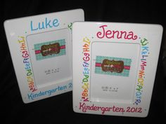 hand painted personalized preschool or kindergarten graduation picture frame ABCs