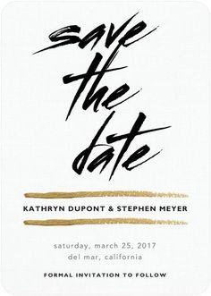 Passionate Promise - Signature White Save the Date Cards - Magnolia Press - Black : Front