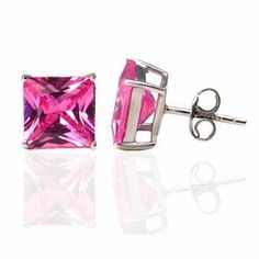 Stud Earrings Authentic Princess Cut Pink Sapphire Color Cubic Zirconia 2.00 Carats Total Weight Comes in a Gift Box & Special Pouch Authentic stud earrings, http://www.amazon.com/dp/B0088GE68A/ref=cm_sw_r_pi_dp_U8jdrb1VMNSTR