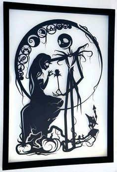 Jack and sally black and white wall picture