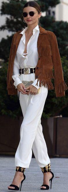 Street style fashion / karen cox. Winter Warm. Miranda Kerr Fringed and Stylish