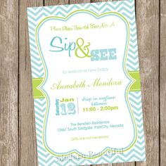 Sip and See Baby Shower Invitation Green and Blue Chevron Printable Personalized 20121228-K1-1E via Etsy