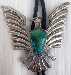 MASSIVE Sterling Silver & Turquoise Nugget Flying Eagle Harvey Era Bolo Tie