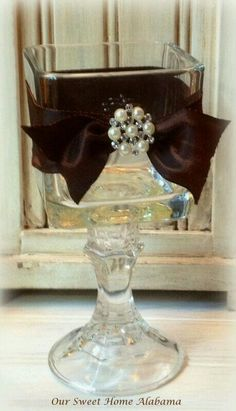 Square glass on candle holder with ribbon