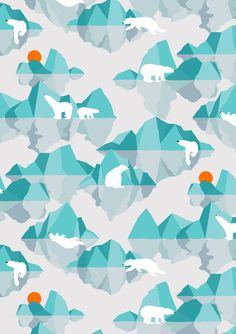 polar bear on floating iceberg Art Print by frameless winter cabin Surface Pattern Design, Pattern Art, Textures Patterns, Print Patterns, Illustrations, Pattern Illustration, Stuffed Animal Patterns, Pattern Wallpaper, Poster
