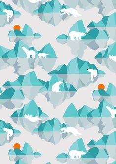 polar bear on floating iceberg Art Print by frameless