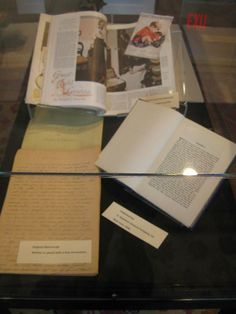 Lincoln books and manuscript for Great Aunt Lavinia. The Manuscript is handwritten in pencil by Joseph C Lincoln (pictured on the left) next to this is an edition of Lincoln's novel Great Aunt Lavinia published in
