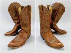 1980s Vintage / Justin Cowboy Boots / Soft Brown Leather / Scalloped Shaft / Stack Leather Heel / Leather Sole / Round Toe / 12B Narrow #WesternBoots #SoftLeatherBoots #BrownLeatherBoots #CowboyBoots #LeatherBoots