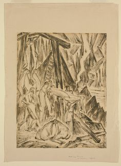 """This monoprint was a gift from Munn to Harold and Ruth Tovell, important art collectors in Toronto. """"Untitled (Descent from the Cross),"""" c. 1927, private collection."""