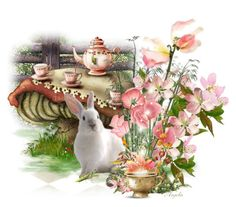 """""""Tea Party"""" by anjelakewell ❤ liked on Polyvore featuring art and flowersinart"""