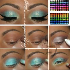 BH Beauty Theamazingworldofj created this beautiful turquoise eye makeup look using her First Edition - 120 Color Eyeshadow Palette! #bhbeauty