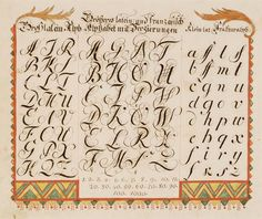 Works on Paper - Fraktur (Writing sample) - Search the Collection - Winterthur Museum Calligraphy Handwriting, Beautiful Calligraphy, Learn Calligraphy, Penmanship, Gothic Lettering, Alphabet, Old English Font, Letter Art, Lyrics
