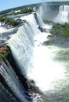 "Iguazu Falls is a ""wonder of the natural world just over the border into Argentina or Brazil and a must-see for most visitors to Paraguay."" Paraguay: The Bradt Guide www. Beautiful Waterfalls, Beautiful Landscapes, Places To Travel, Places To See, Places Around The World, Around The Worlds, Les Cascades, Amazing Nature, Belle Photo"