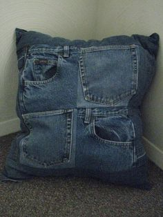 Upcycled Denim Throw Pillow With Pockets - Jean Patchwork by Dreamcrafter on Etsy