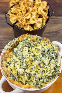 Skip the chips with this tasty Spinach Artichoke Dip. Go with fried bowtie pasta instead!