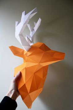 Make a lightweight paper animal sculpture from www.papertrophy.com and hang it with a removable 3M Command Adhesive hook or tape. The back side of each model has a hole for hanging and surface area for tape. #homefakeovers
