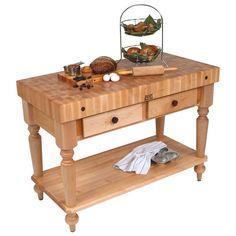 "48"" W Cucina Rustica Kitchen Cart with Shelf by John Boos $1849"