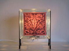 Dutch tile TULIP lamp glass block FREE SHIPPING by Glowblocks