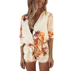 fd892aee05d ZANZEA 2018 New Women Summer Beach Sexy V neck Short Jumpsuits Flower Print  Chiffon Playsuit Rompers Bodysuit Overall Plus Size-in Rompers from Women s  ...