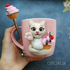 Polymer Clay Cat, Polymer Clay Figures, Polymer Clay Jewelry, Cute Mug, Clay Cats, Biscuit, Cute Little Things, Ceramic Mugs, Cold Porcelain