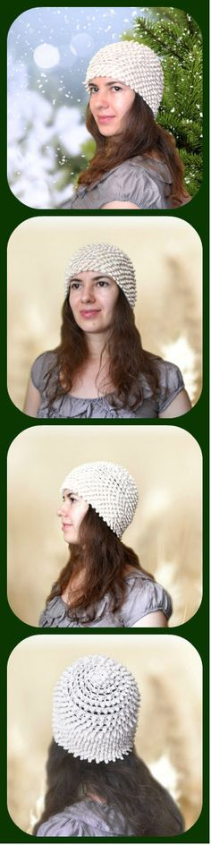 Off-White Crochet Women's Beanie - Cotton Skull Cap Bohemian Chrysanthemum - White #Summer #Crochet #Beanie #ItWasYarn