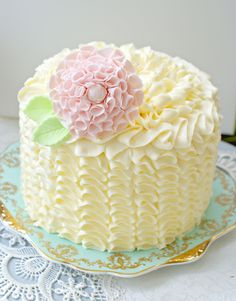 Buttercream Ruffle Cake Tutorial | The first course is a frilly ruffle cake piped with buttercream and ...
