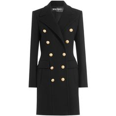 Balmain Black Wool & Cashmere Double Breasted Coat ($3,000) ❤ liked on Polyvore featuring outerwear, coats, black, cashmere coats, double-breasted coat, woolen coat, collar coat and slim coat