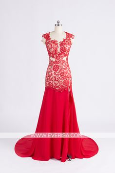 Sexy Red Trumpet/Mermaid V Neck Floor Length chiffon prom dresses with Open Back split front  -  $130.00 #prom #dress #promdress #eveningdress #formaldress #homecomingdress #bridesmaiddress From https://www.everisa.com/sexy-red-trumpet-mermaid-v-neck-floor-length-chiffon-prom-dresses-with-open-back-split-front